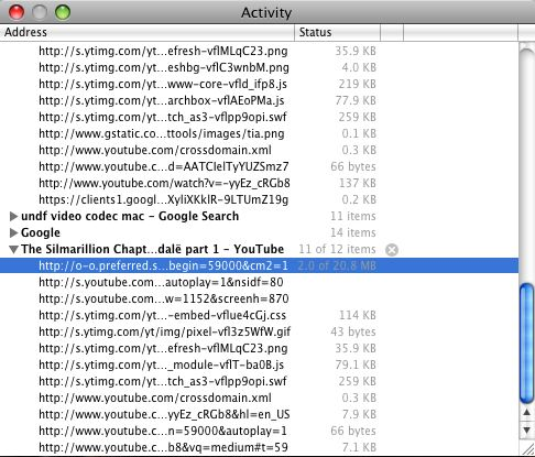 Safari's 'Activity' window - This screen shot shows the list of files being downloaded.        Note the small size of all but the video file which is about 20MB